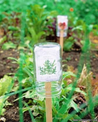 One of the best ways to protect your seed packets with all the info you need to remember is to slide it over a stake and cover with a glass jar - plus it's weatherproof!