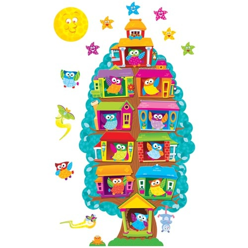 """Organization by owls! Let the energetic, patchwork birds perch in their expandable tree house that can serve as a Job Chart, Student of the Week award tracker, Our Classroom display and more! Give each birdhouse a label depending on the project. Set has 54 pieces including a 3-piece tree, 36 owls and 15 accents. Tree expands from 17"""" tall using just the base or top to 46"""" tall with all three pieces."""