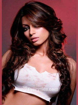 Wholesale Free Shipping Hand Tied Shama Sikander\'s Hot Full Lace Long 100% Human Hair Wigs Dark Brown Curly Celebrity 2011 Online