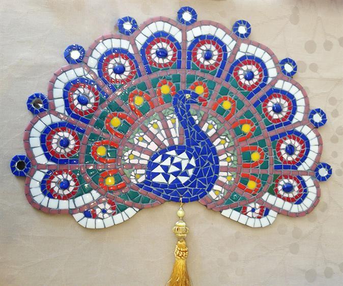 Mozaik Tavuşkuşu Pano - mosaic peacock