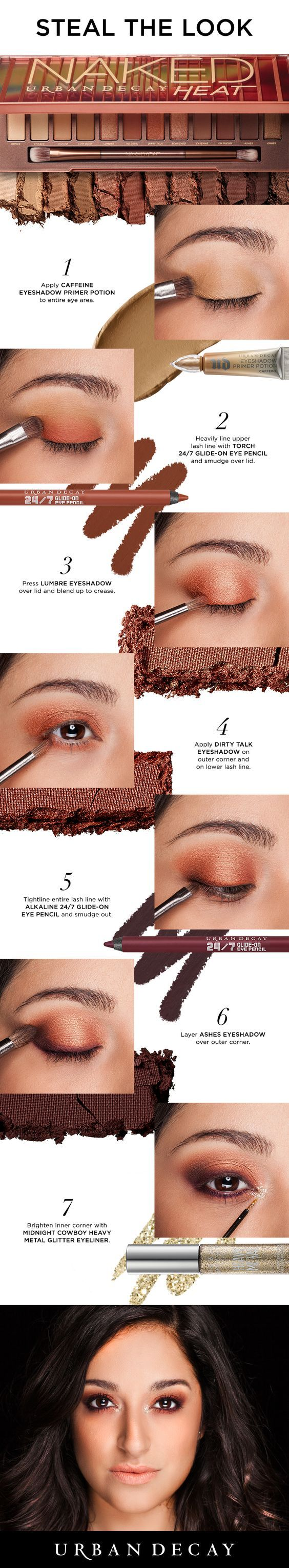 Smoke it out with the new Urban Decay Naked Heat Palette! Achieve this look in just 7 easy steps. #NakedHeat