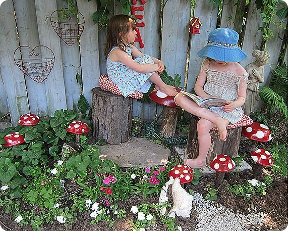 wood bowls from thrift painted and turned into toadstools. Natural, fun garden ideas for the little people..