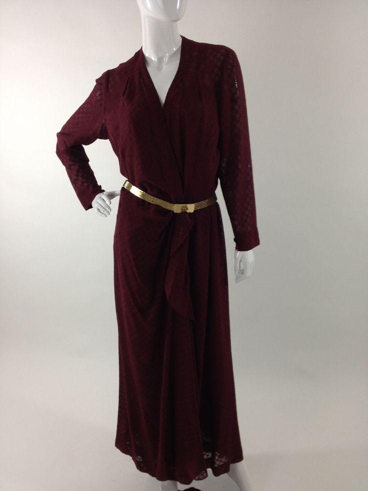 Abito lungo in seta anni 70 Vintage 70s silk burgundy dress