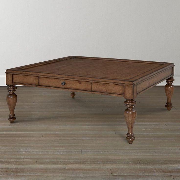 Large Square Dark Wood Coffee Table
