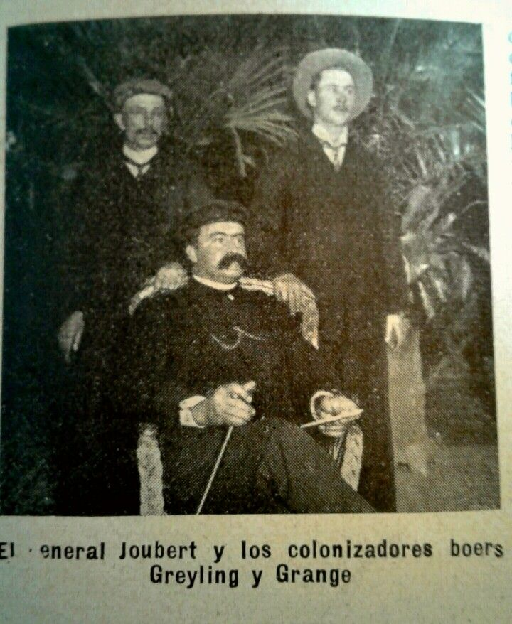General Joubert and the Boers settlers Greyling and Grange. 1905.