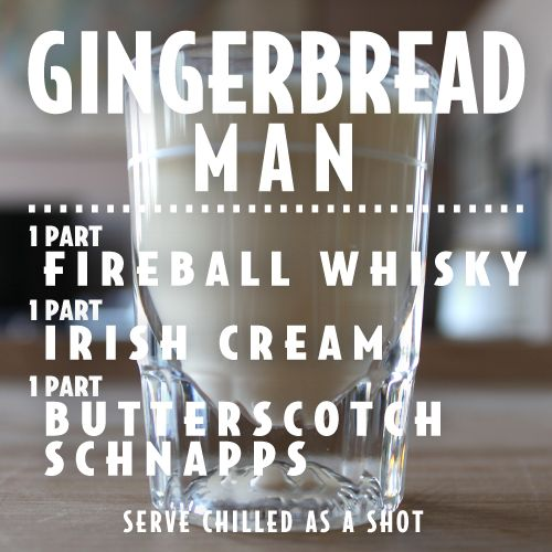 """Gingerbread Man"" shot recipe by Fireball Whiskey @Kelly Teske Goldsworthy Teske Goldsworthy Teske Goldsworthy Hodis"