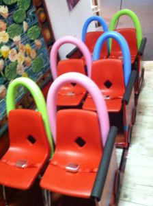 Make a roller coaster from  pool noodles and kids classroom chairs...other great ideas here too!