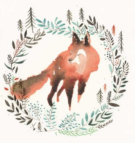 i'm obsessed with this watercolored fox!! By Jenny Nieh