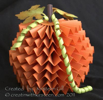 "Super Cute!            Whilst at retreat I made this little 3D pumpkin.      This is a super easy little project -       A lot of WOW,  for little work!!                            To make the pumkpin:      I used Pumpkin Pie Cardstock...      4 pieces of each size      8"" x 2 1/2""      8 x 2 1/4""      8"" x 2""      8"" x 1 3/4""              The next step is the time consuming part....      Score each along the 8"" side at every 1"" starting at 1/2""      (so 1/2"", 1 1/2"", 2 1/2"", 3 1/2"" etc)"