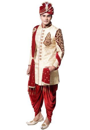 Light Beige Brocade Silk Readymade Sherwani with Dhoti Pant: MNL69