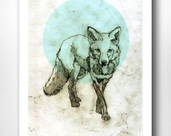 Stampa A4 Fox Fox | Fox, geometrica, illustrazione, disegno, blu ghiaccio | Stampe d