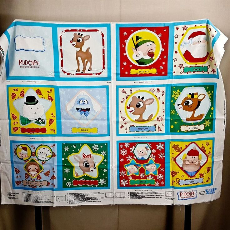 """Rudolph Red Nosed Reindeer 10"""" Fabric 12 Pg Soft Book DIY Panel Christmas Craft"""