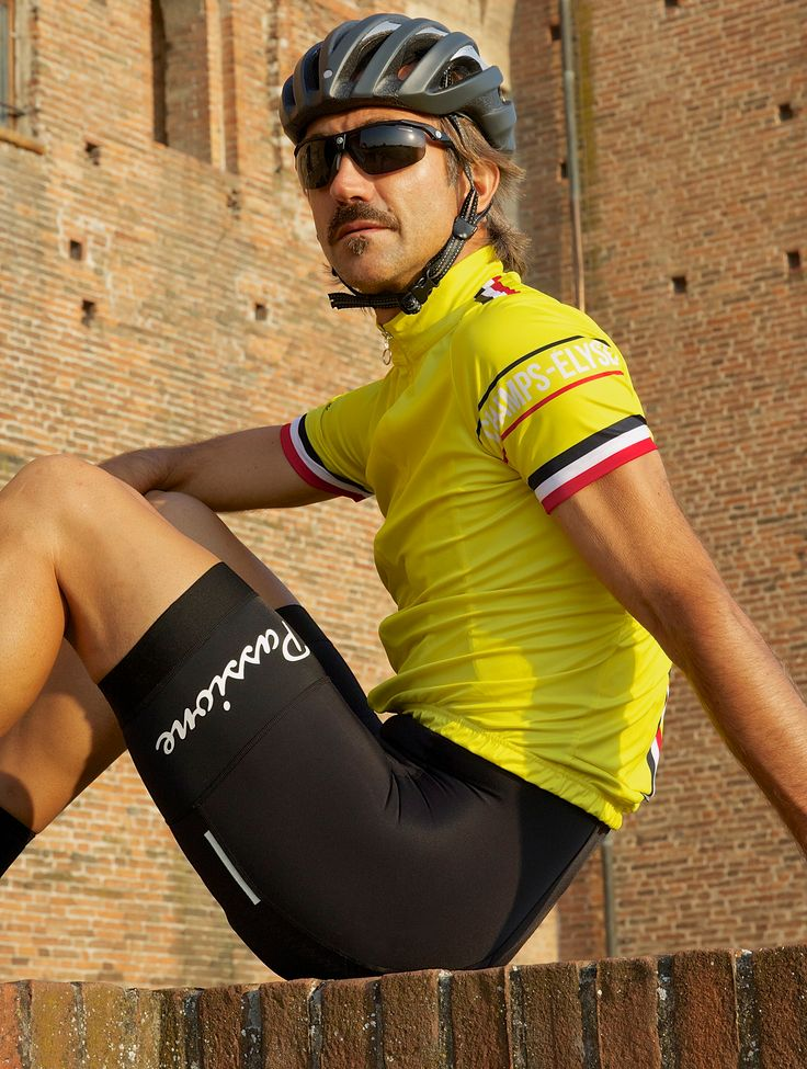 The dude looks creepy. But i like the stripe placements on his jersey!  Summer Bib Shorts Passione Italy Edition | La Passione Cycling Couture