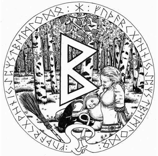 It is the rune of the family and the home, and represents the enjoyment of sexual relations, fertility, and birth. Birth in this context can be literal or symbolic, such as the successful start of any new idea or enterprise. http://www.runemaker.com/futhark/berkanan.shtml