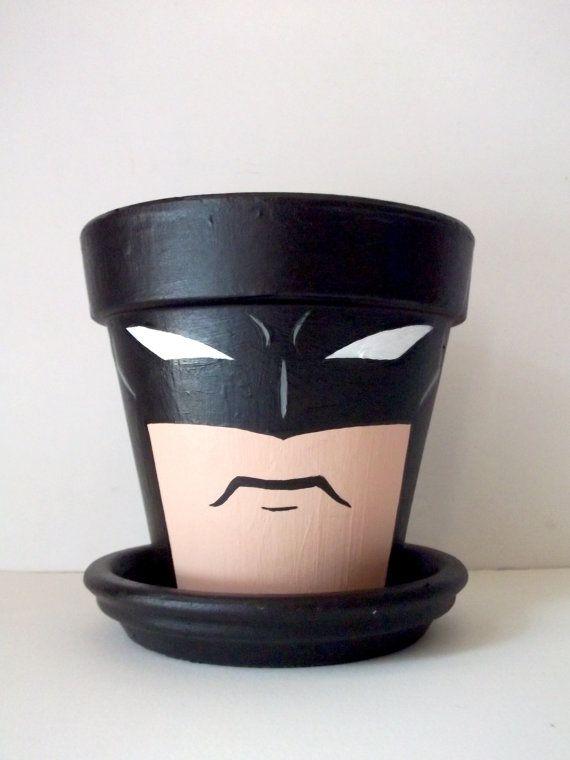 Batman Dark Knight Painted Flower Pot Gift Set by GingerPots