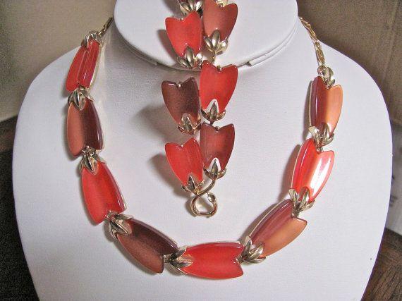 Vintage LISNER Autumn Fall Colors Orange Coral & Brown ...