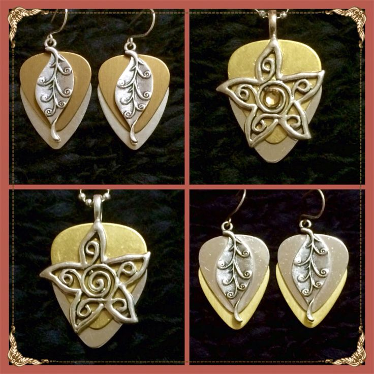 Mirrored Guitar Pick Jewelry - Mirrored Metallic Gold Silver Leaf Earrings $30, Metallic Gold Mirrored with Silver Star $30, Mirrored Metallic Gold Silver Leaf Earrings $30 - Metallic Gold Mirrored With Silver Star and Crystal $30 - purchase thru website!