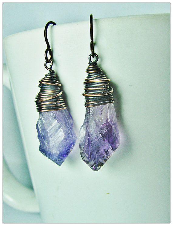Raw Amethyst Crystal Earrings