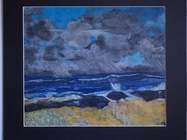 Storm City by Jaims  Oil Pastel on paper  420 x 505 (mounted 540 x 625)