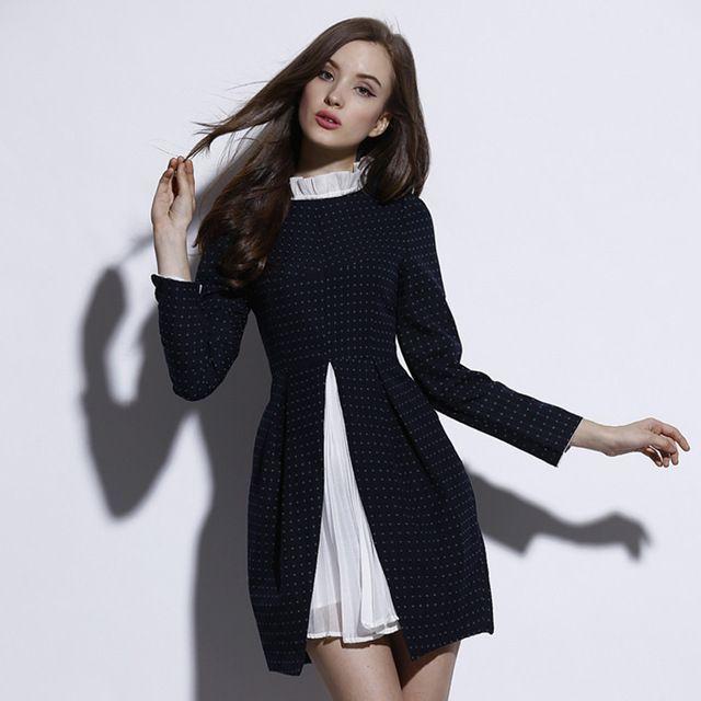 Новый 2015 Весна Элегантный Вечернее Платье Дизайнер женская Мода Винтаж Добби Горошек Лоскутное Тонкий Плиссированные Строки Платья OM020