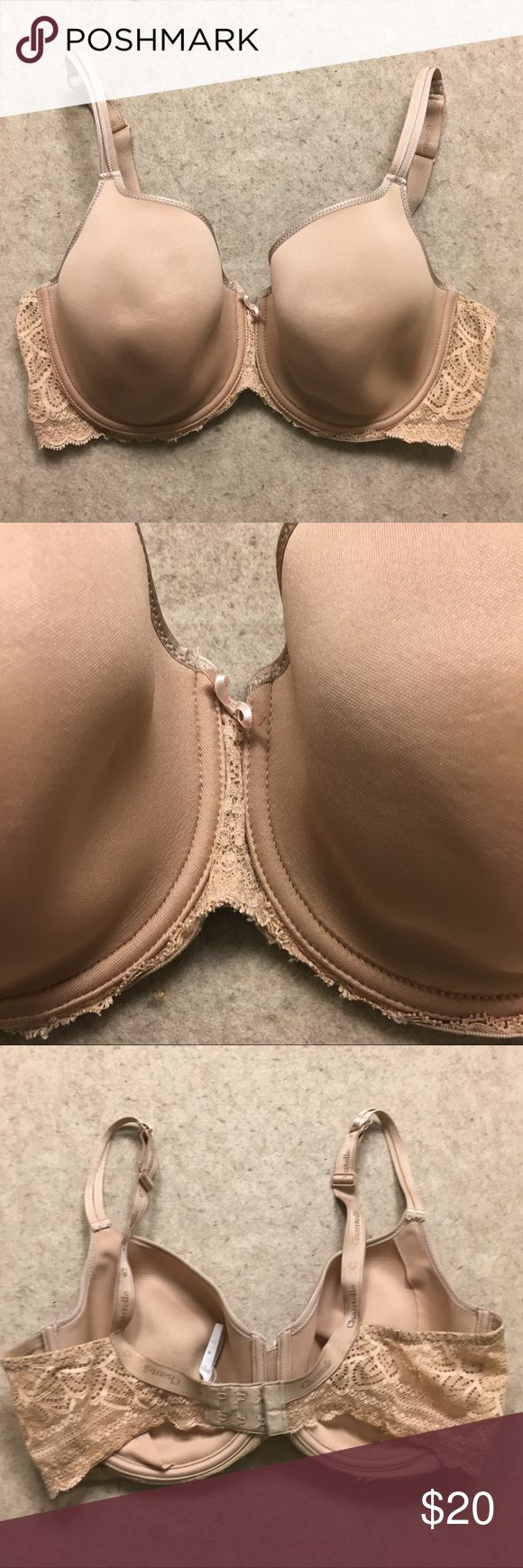 Chantelle Merci T-Shirt Bra Underwire Nude Sz 38DD Chantelle Merci T-Shirt Bra Underwire Lace Detail Women's Nude Beige Size 38 DD Retail $78 Gently used, no flaws Chantelle Intimates & Sleepwear Bras