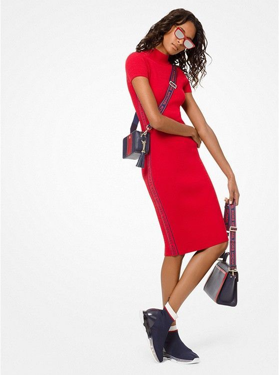 036ee9dd66a MICHAEL KORS Logo Tape Ribbed Knit Dress in Scarlett ~ Today s Fashion Item   MichaelKors