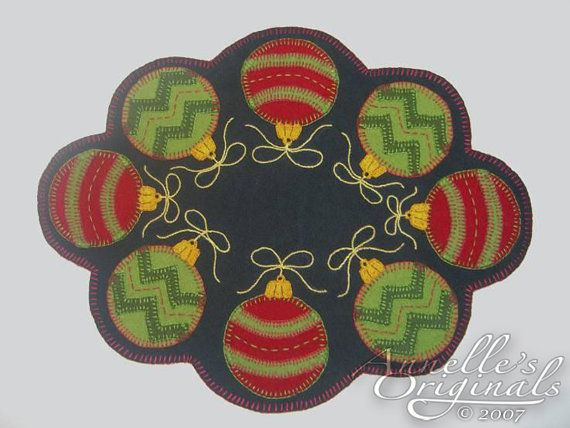 Free Wool Penny Rug Patterns | Ornaments Winter Penny Rug Candle Mat Wool Applique PATTERN & Wool ...