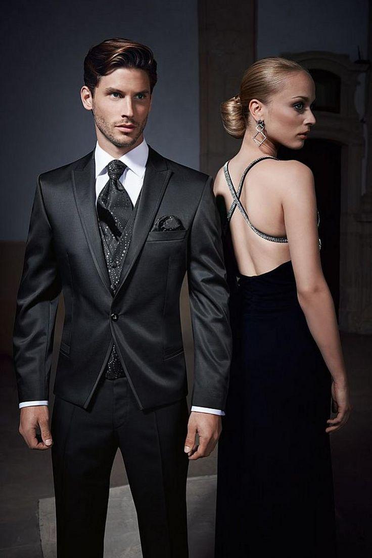 Hot Sale Slim Fit 2015 Groom Tuxedos Light Black One Button Best Man Business Wedding Groomsman Bridegroom Suit Jacket+Pants+Tie+VestA010 Mens White Suit Prom Suits 2015 From Bridal_gowns, $98.49| Dhgate.Com