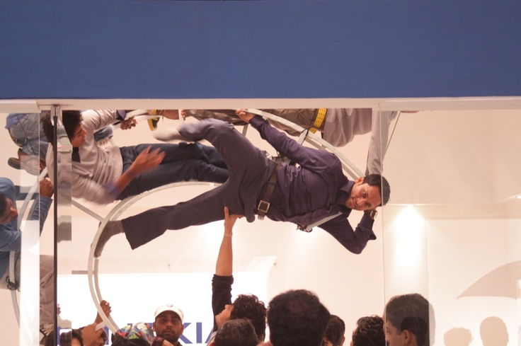 Our hero's on top. He's not an acrobat and had to held with ropes and stuff. Pretty cool, huh :)