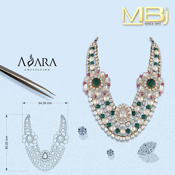 Beautiful Polki Necklace from Adara collection with Rubies, Emeralds, Pearls etc