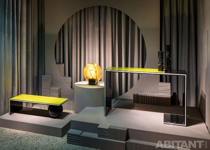 Желтые столики и светильники