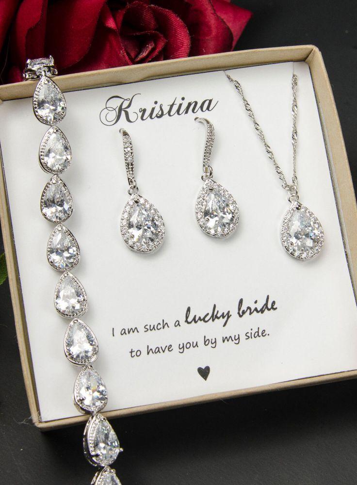Bridesmaid Necklace Set Red Water Drop Wedding Necklace