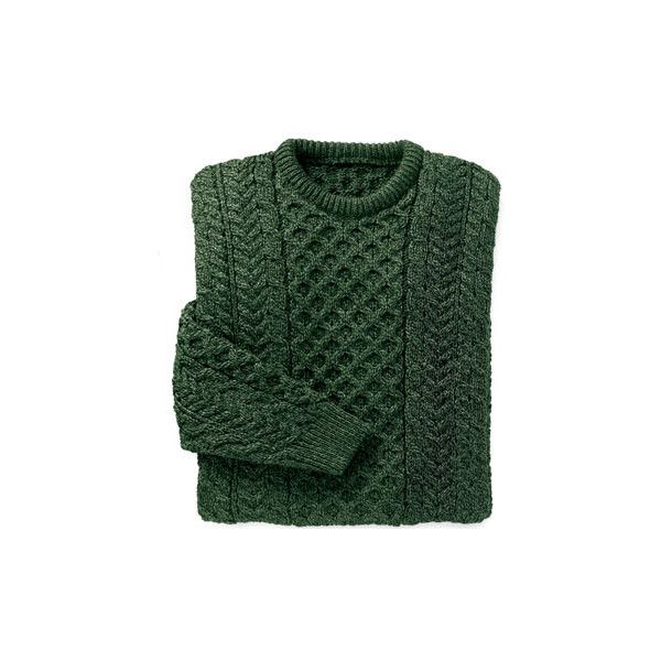 Merino Wool Aran Sweater Dark Green ($75) ❤ liked on Polyvore featuring tops, sweaters, shirts, jumpers, dark green shirt, fisherman sweater, merino sweater, stitch shirt and dark green sweater