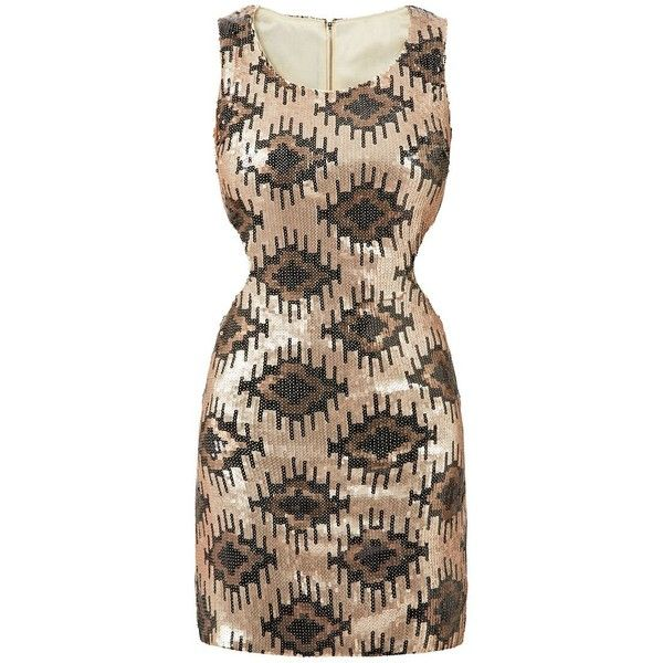 Dolly & Delicious Gold Sequin Aztec Dress (€21) ❤ liked on Polyvore featuring dresses, gold, gold cocktail dress, brown dress, going out dresses, gold party dress and brown cocktail dress
