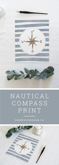 This nautical compass art print, set on a backdrop of watercolor waves, is perfect for a bathroom wall! // light and airy bathroom, natural light, clean neutral colors, bathroom inspiration