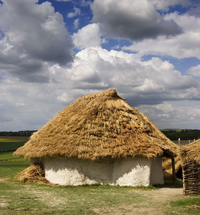 A recreated Neolithic house at Durrington Walls, Wiltshire