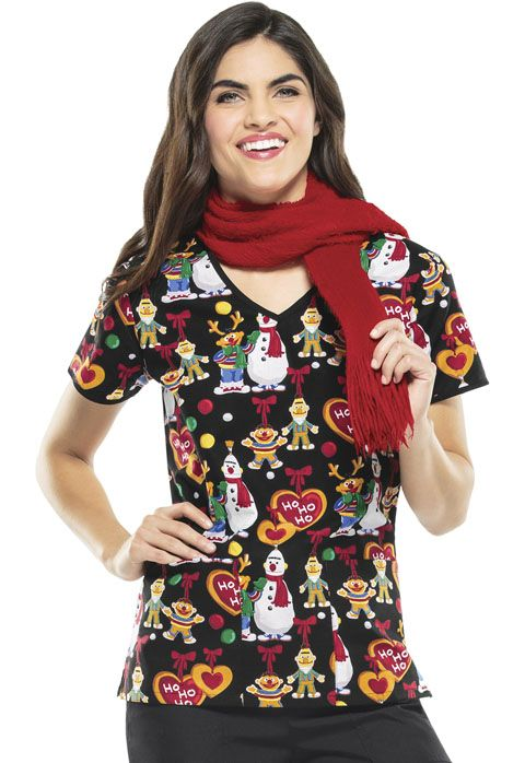 "This ""Sesame Ho Ho"" classic V-Neck Top features three front pockets! 