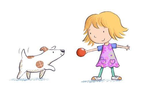 El perro quería jugar La niña le enseña la pelota Se la tirará