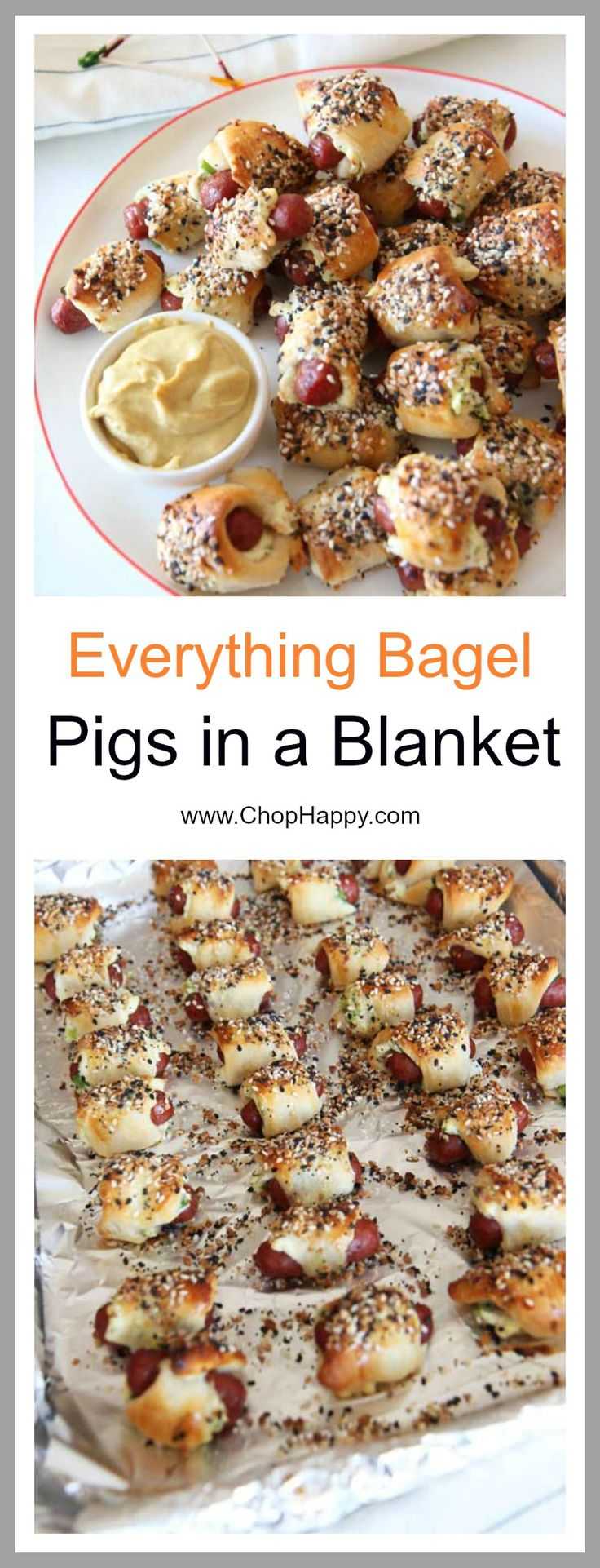 Everything Bagel Pigs in a Blanket Recipe - is crunchy, cheesy, garlicky and salty flavor yum appetizers. Grab crescent dough, everything bagel seasoning, and hot dogs for a super easy recipe. www.ChopHappy.com