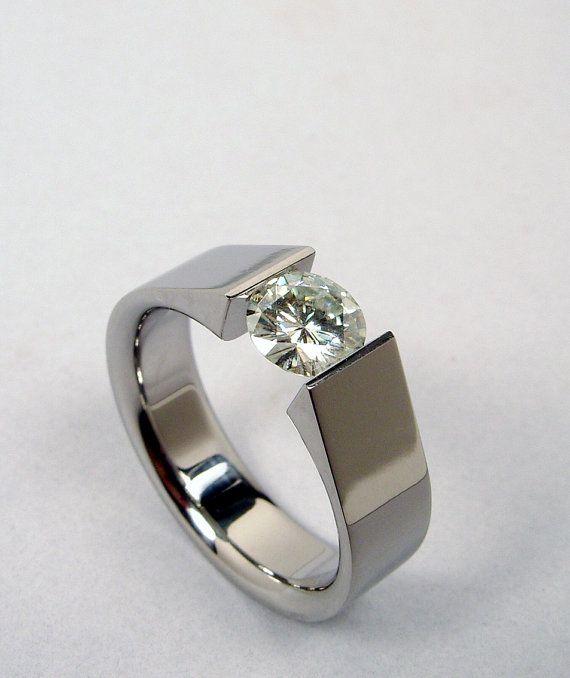 Tension Set Titanium And Moissanite Diamonds And