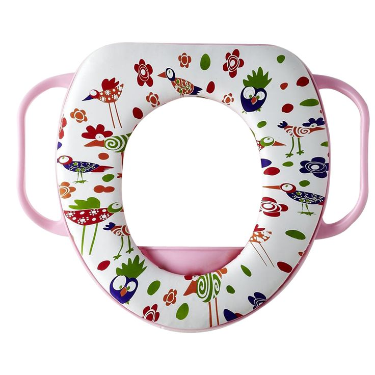 Cartoon Colorful toilet seat kids soft  toilet seat cover  Cushion Child Seat Baby Potty Seat  Safety  with Handrail pink bird