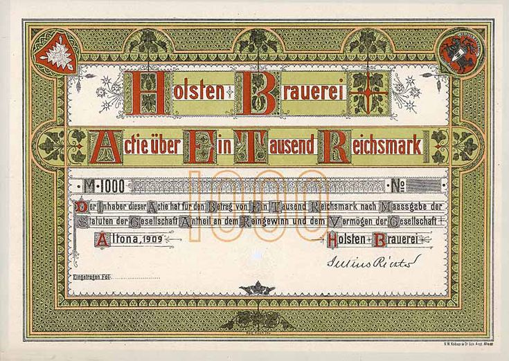 Holsten Brauerei, Altona, Aktie 1000 Reichsmark, von 1909