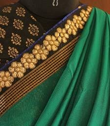 The Green Quotient  georgette-saree @ www.mirraw.com