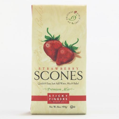Sticky Fingers Bakery Strawberry Scone Mix  (Strawberry & Lemon)  http://www.worldmarket.com/product/sticky-fingers-bakery-strawberry-scone-mix.do?=Search