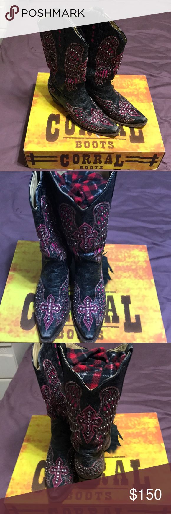 Corral Rhinestone Cowboy boots Excellent condition. These were purchased on my trip to Dallas but after breaking my ankle I just can't get them on. They are a 10.5 but will fit an 11 due to the shape of the toe. Got many compliments on them the few times they were worn. Will come in the original individual plastic bags, but with the box will be over 5lbs shipped weight if you want that included in the sale. Corral Shoes Heeled Boots
