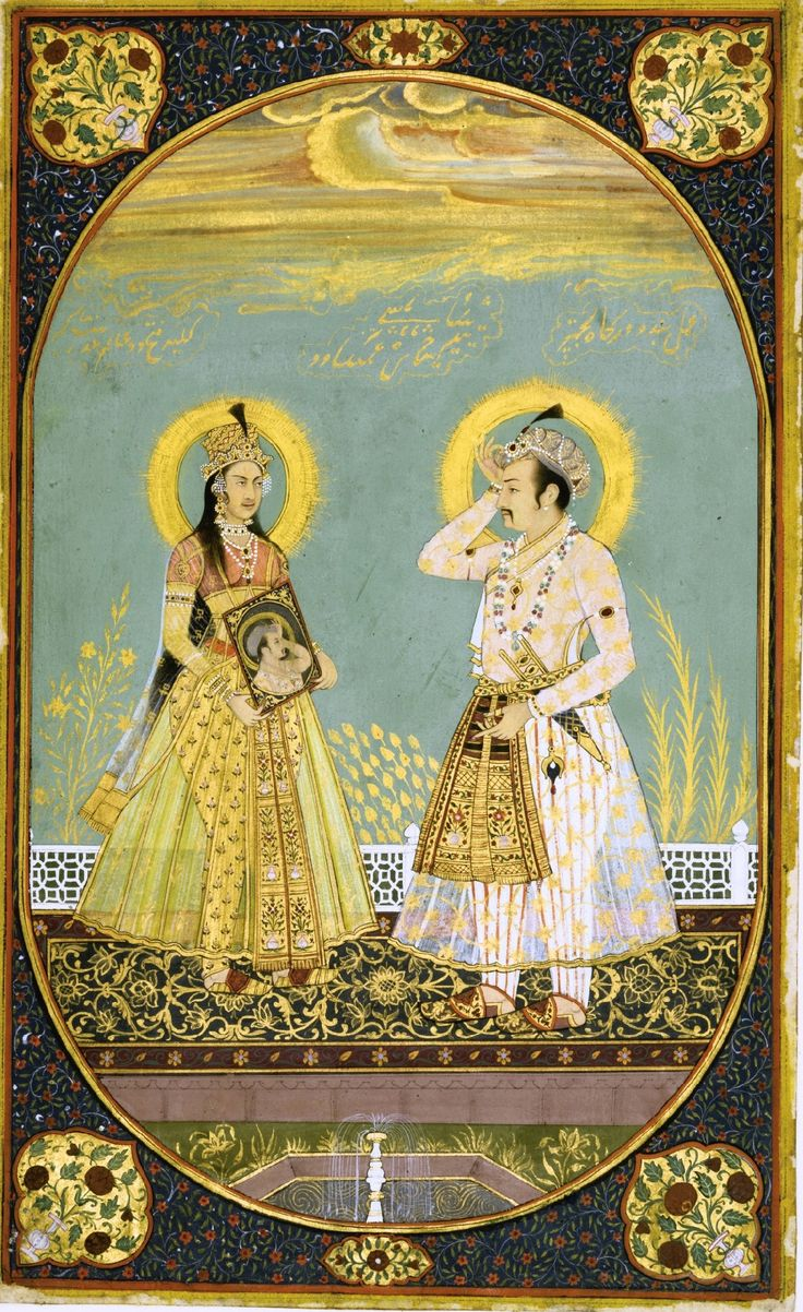 A portrait of Jahangir and Nur Jahan, Delhi, late 19th cent. Nur Jahan was the daughter of Mirza Ghayas Beg and was first married to Sher Afkan who later died during battle. She later married Jahangir in 1611, who then gave her the title of Nur Jahan (Light of the Palace). Nur Jahan was an intelligent and cultured woman who patronised the arts and played an important role in the life of Jahangir and at court.