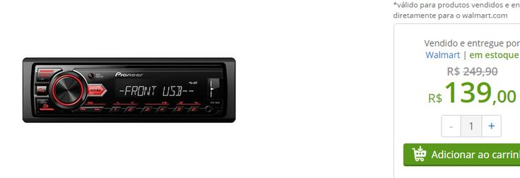 Som Automotivo Pioneer MVH-88UB com Entrada USB << R$ 13900 >>