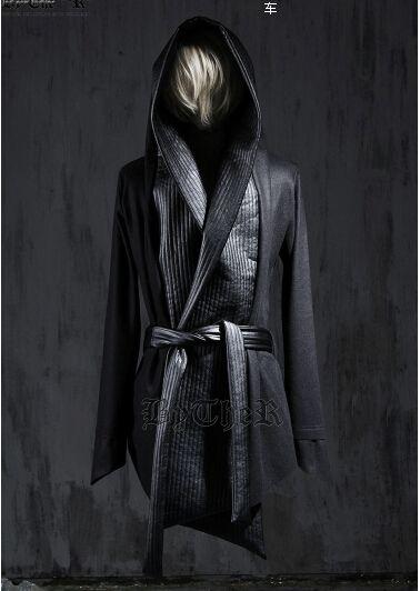 2016 New Fashion Mens Winter Dress Gothic Trench Coats Harajuku Leather Designer Wool Pea Coat Hooded Cloak Jacket Men Overcoat