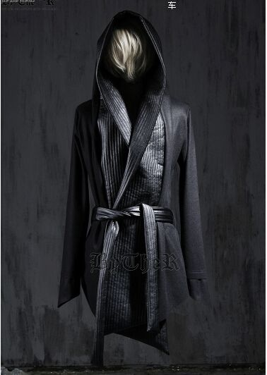 2016 New Fashion Mens Winter Dress Gothic Trench Coats Harajuku Leather Designer Wool Pea Coat Hooded Cloak Jacket Men Overcoat