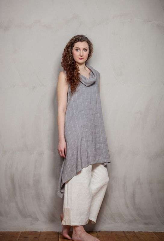 Terry Macey Sleeveless Roll Neck Tunic over Pleated Inset Trousers in white linen